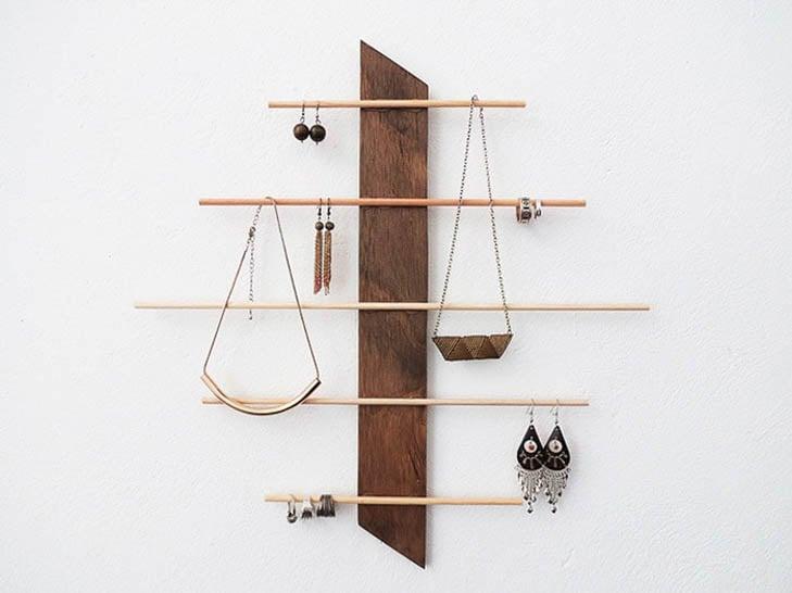 Modern wood hanging jewelry holder
