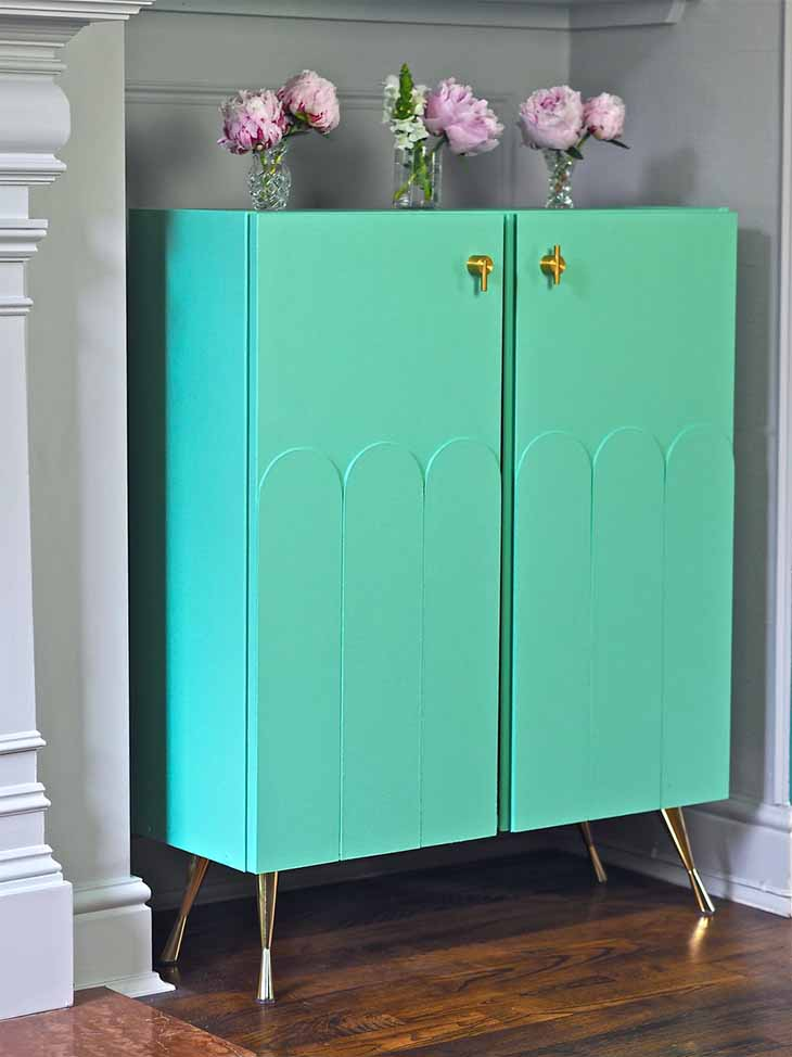 Ikea Ivar cabinet painted bright green