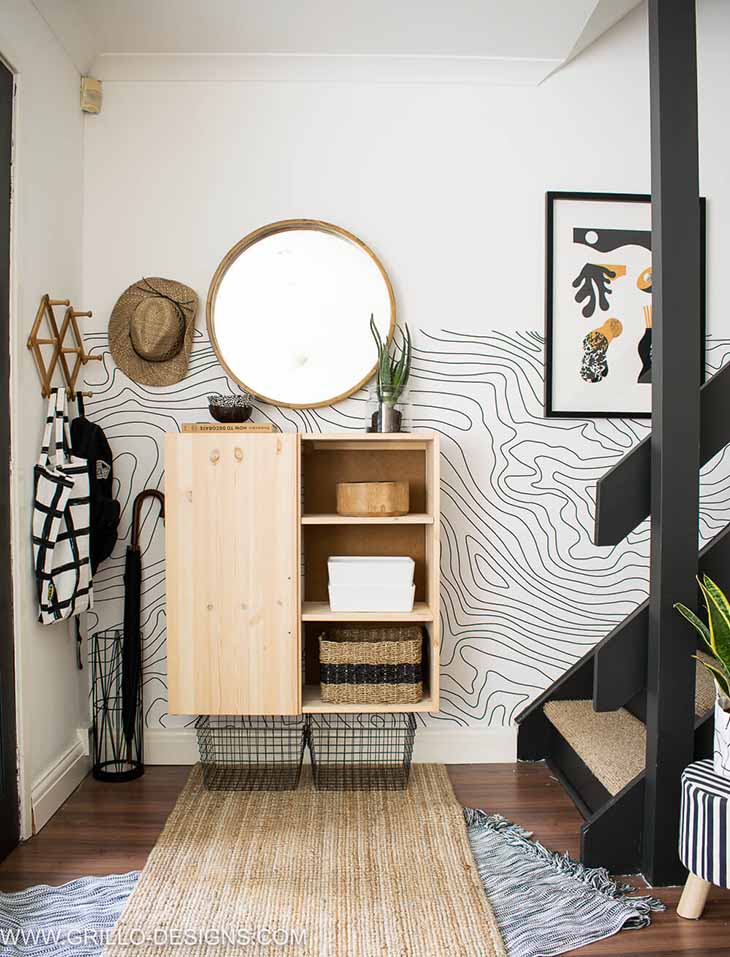 Entryway with Ikea Ivar as storage with one door and mounted on the wall
