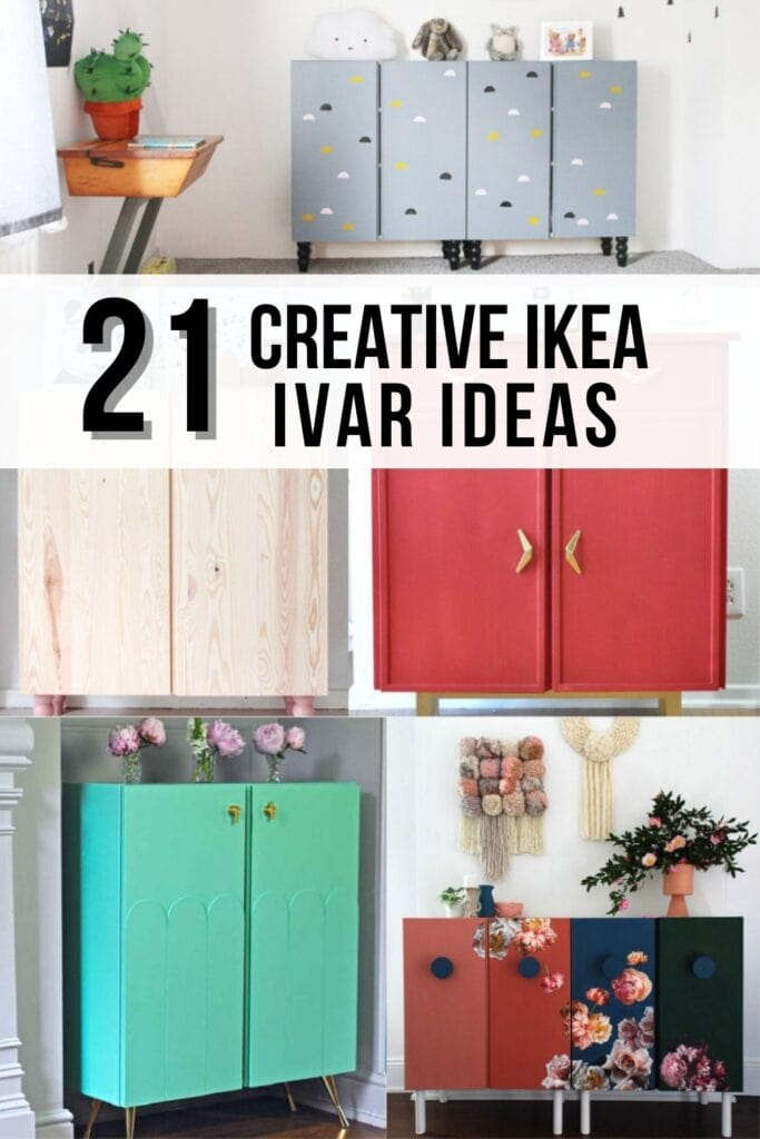 Collage of Ikea Ivar hacks with text overlay