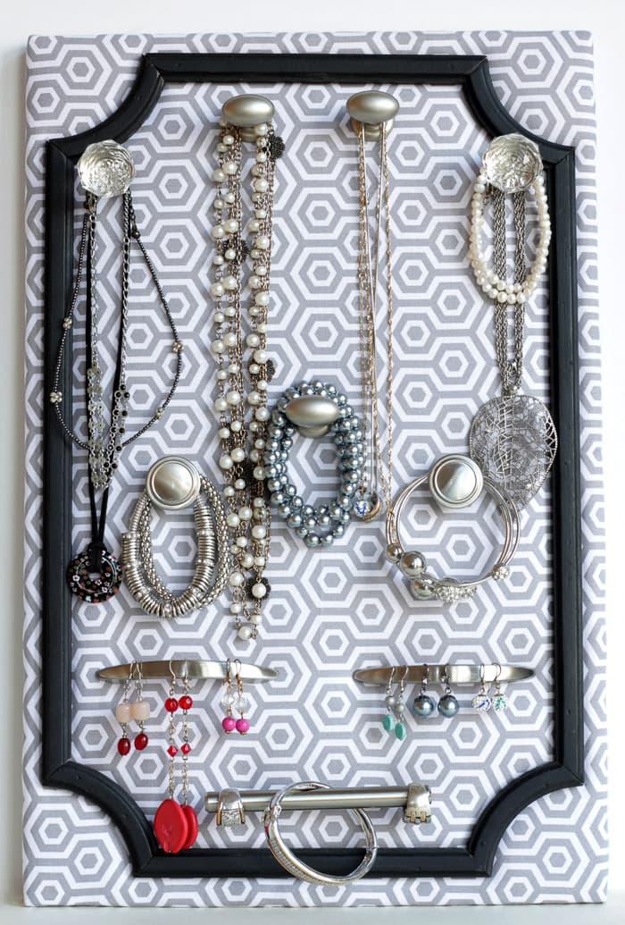 Fabric and frame jewelry organizer by Lil Luna