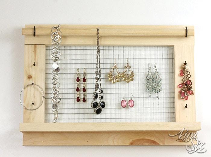 DIY Wall mounted jewelry organizer