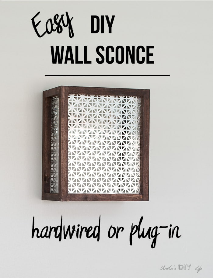 DIY wall sconce on the wall with text overlay