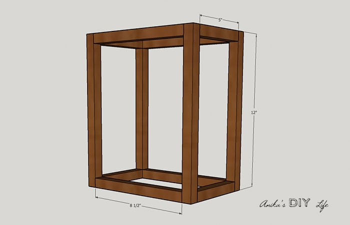 Schematic of DIY wood and metal wall sconce