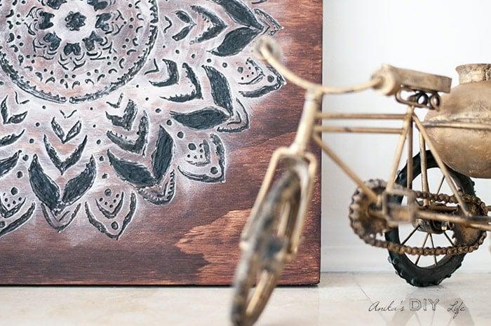 close up of Dremel wood carving to make a mandala wall art