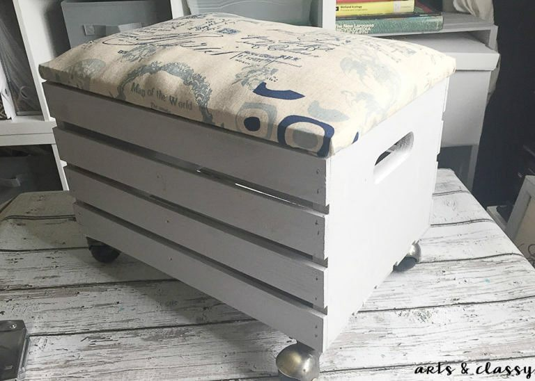 ... How to create a wooden Crate rolling storage ottoman & 20 DIY Storage Ottoman Ideas for Every Skill or Budget
