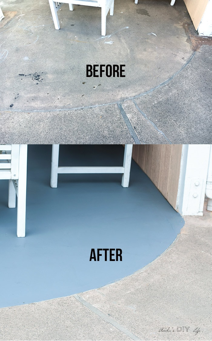 Stained concrete floors - before and after comparison