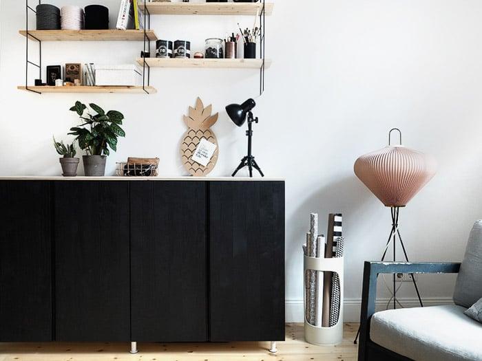 Black Ikea Ivar cabinet and sideboard