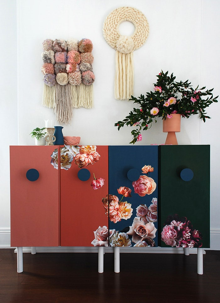 Ikea Ivar Cabinet makeover with flowers