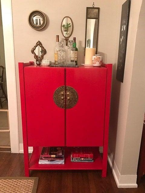 Ikea Ivar cabinet hack as a red bar