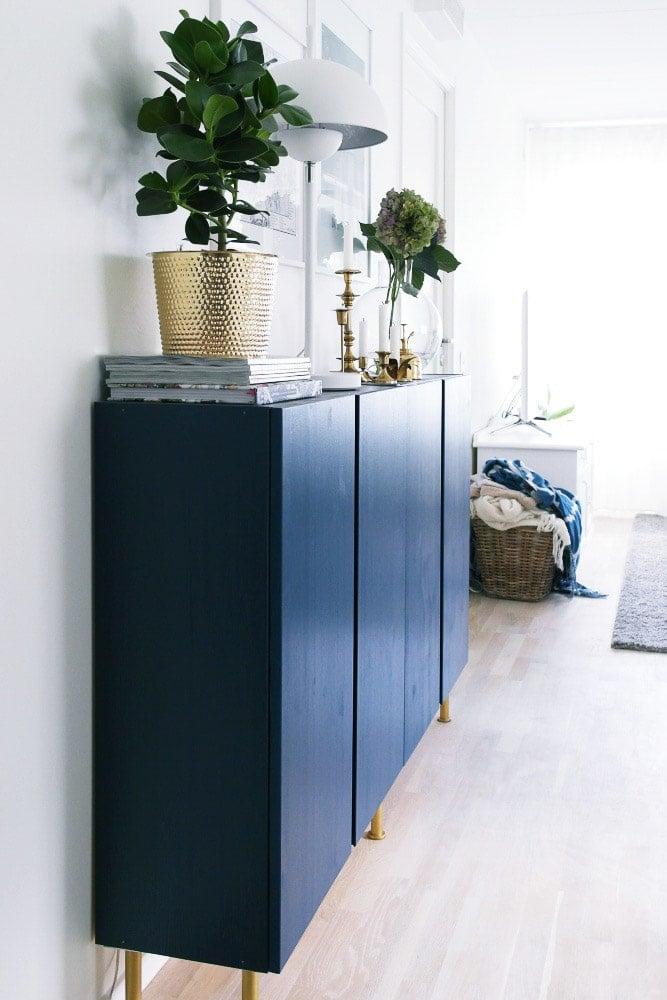 Blue and gold Ikea Ivar makeover
