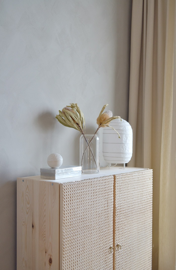 Ikea Ivar cabinet makeover with custom cabinet doors
