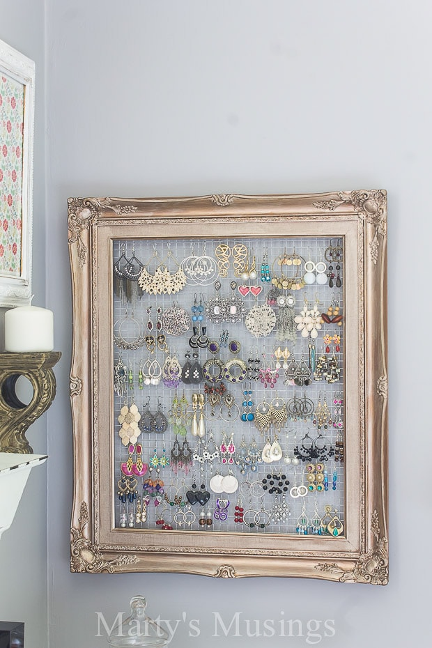 DIY Wall jewelry organizer from frame by Marty's Musings