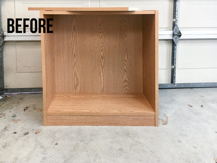 Old laminate bookshelf makeover - before picture