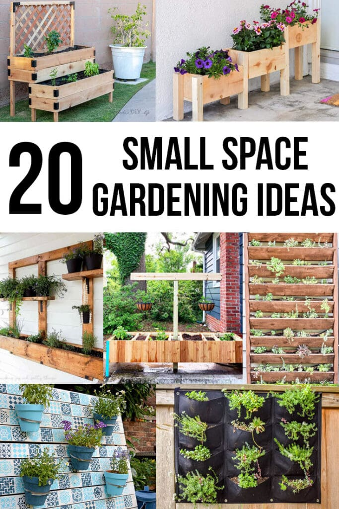collage of DIY garden ideas for small spaces with text