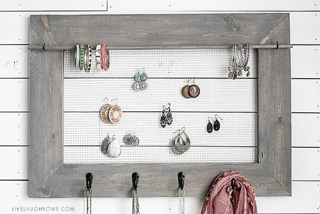 Wall mounted jewelry organizer by Live Laugh Rowe