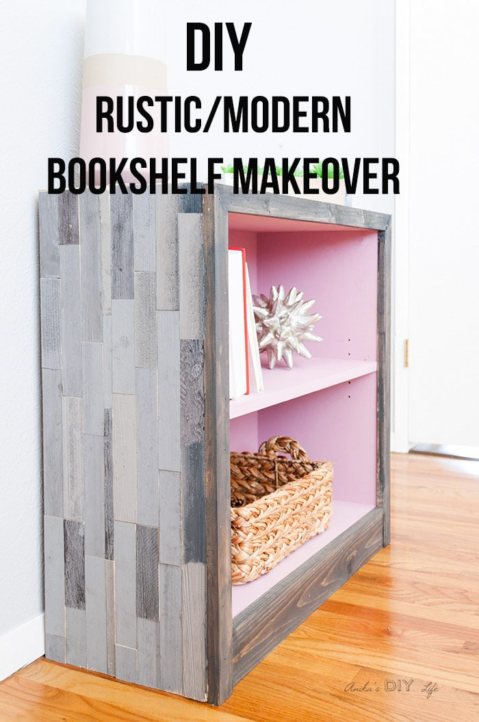 Side view of DIY rustic modern weathered barn wood bookshelf with text overlay