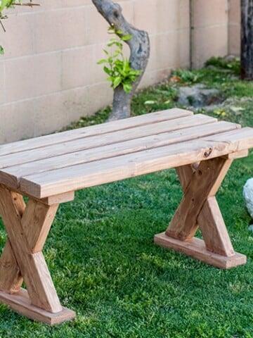 DIY 2x4 bench in grass