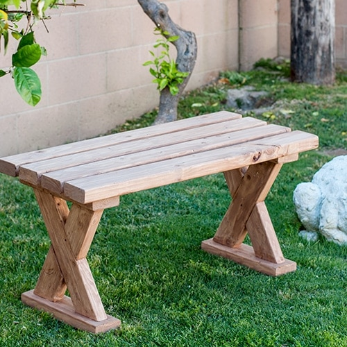 DIY 2x4 bench in grass