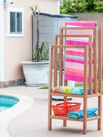 Add a DIY outdoor towel rack to your backyard with this easy and quick build. The step by step tutorial and plans show you how to build a towel rack with shelves. It is the perfect poolside towel holder. It can also be used indoors as a freestanding towel rack.
