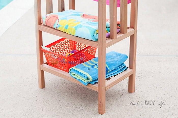Shelves in the DIY freestanding outdoor towel rack