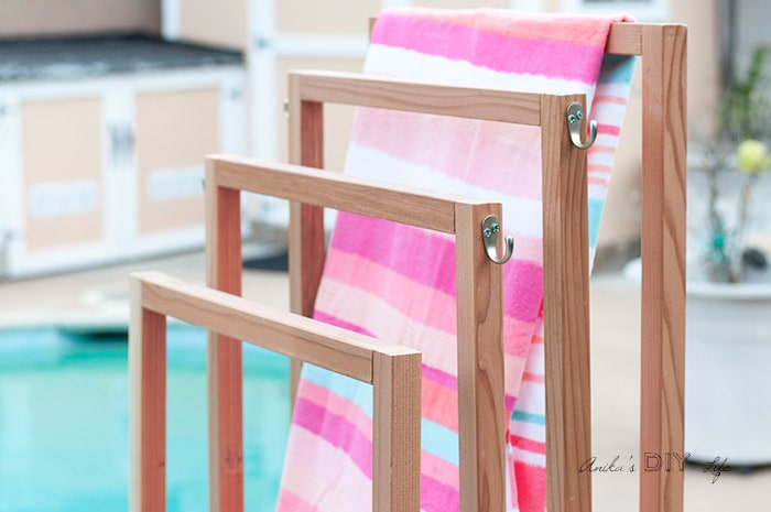 Diy Outdoor Towel Rack With Shelves Anika S Diy Life