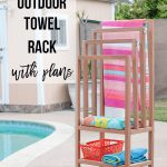 DIY outdoor Towel rack with shelves with text overlay