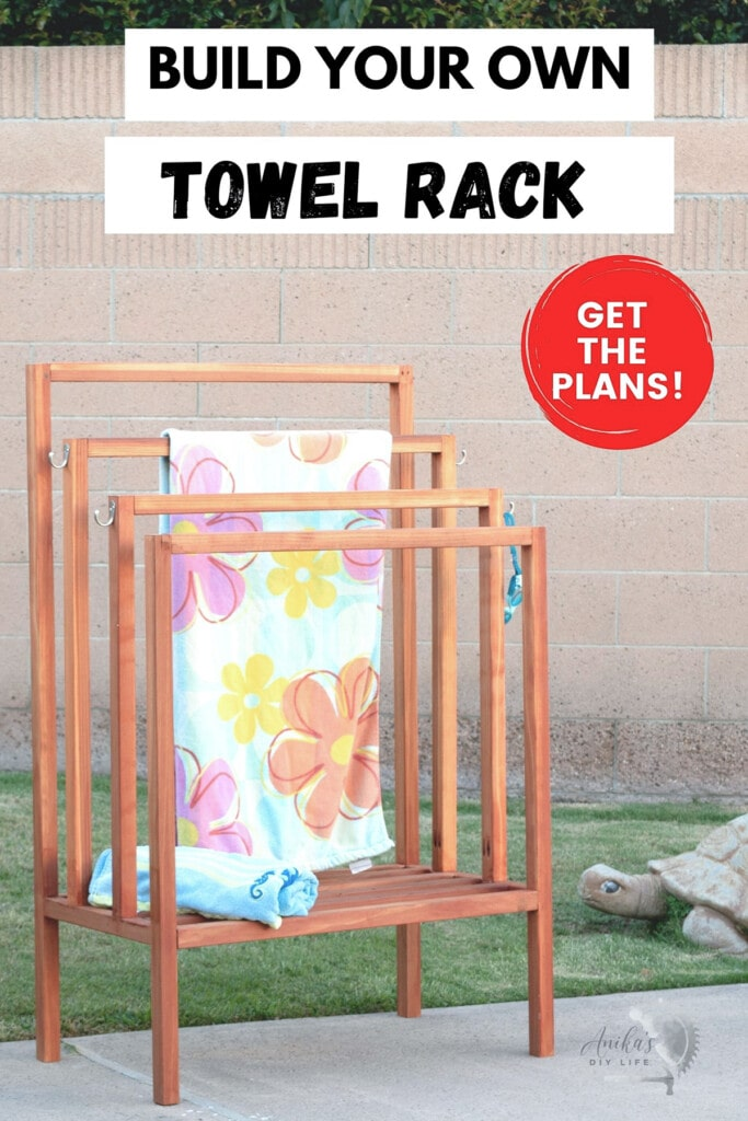 Redwood towel rack in backyard with colorful towel on it with text overlay