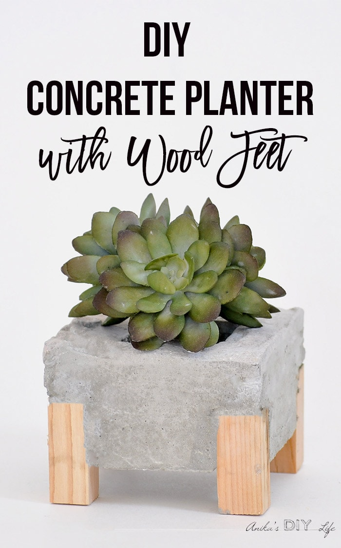 Diy Concrete Planter With Wood Feet Full Step By Step Tutorial