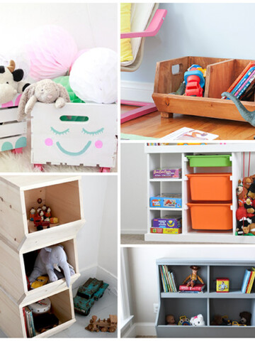 These DIY toy organizer ideas are sure to put an end to your toy storage problems! These creative playroom storage ideas are affordable and practical and perfect for any room - the playroom or living room.