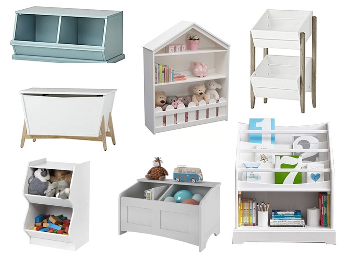 Collage of toy storage solutions available on the internet