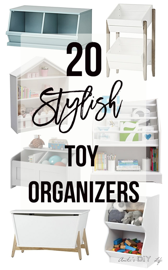 collage of toy storage ideas with text overlay