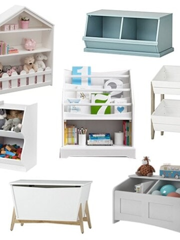 Toy storage solutions to contain the chaos of toys in your life! These stylish toy organization and storage solutions will help hide that mess and also make it look good! They are the perfect addition to a playroom or even a living room!