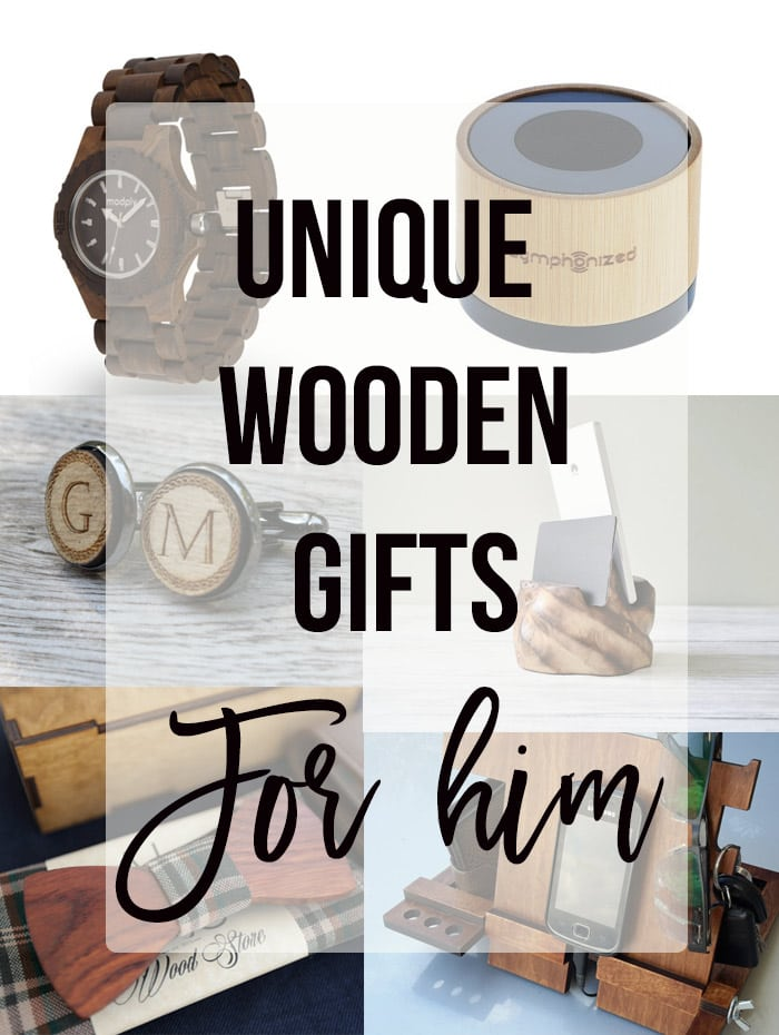 Gifts made of wood for him collage with text overlay