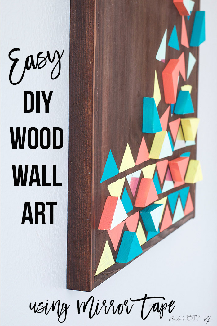 Close up DIY wood wall art to show 3-d effect with text overlay