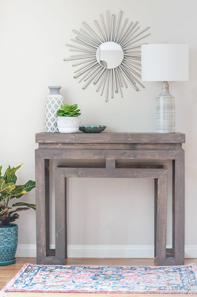 Full view of the DIY console table