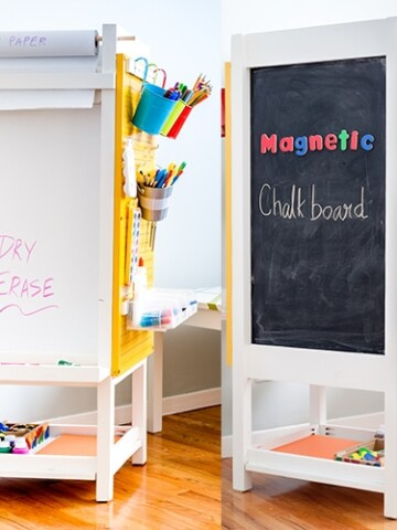 This is such a great idea! DIY kids art station with organization, magnetic chalkboard, white board, art display, art paper holder and art supply organization. Perfect for small homes with no wall space to create a children's art station.