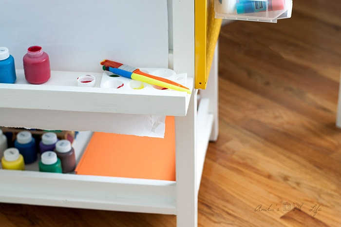 close up storage shelf in the DIY kids art station