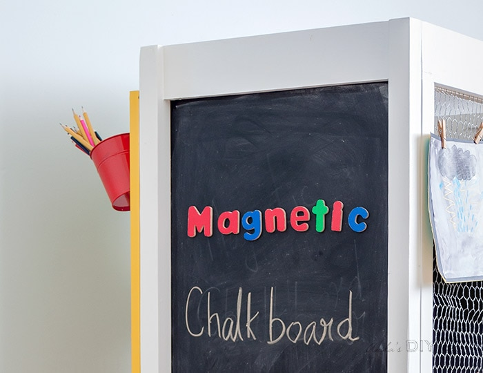 Close up magnetic chalkboard of the DIY kids art center