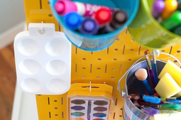 Organization in the DIY kids art station using Wall Control Metal pegboard