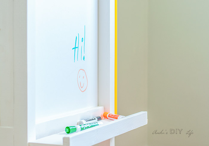 Close up view of Dry Erase board on the DIY kids art station