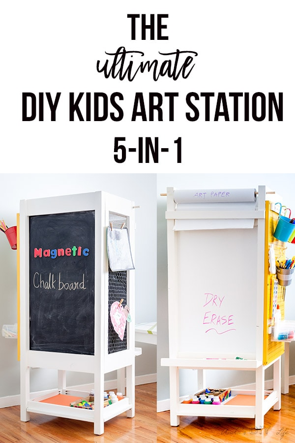 Collage of DIY kids art station with test overlay