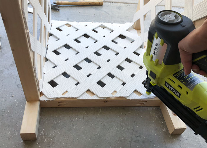 Attaching second layer of lattice using finish nails