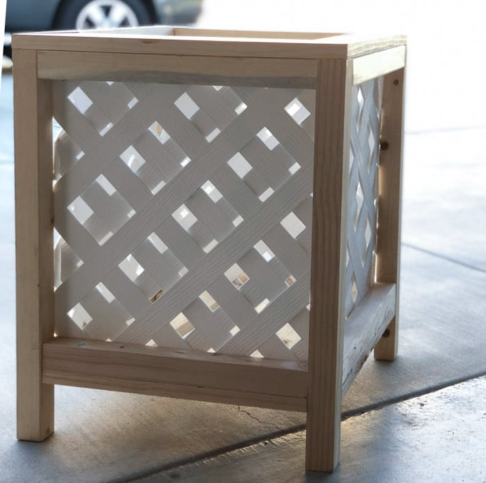 DIY Lattice planter box completed and ready for paint