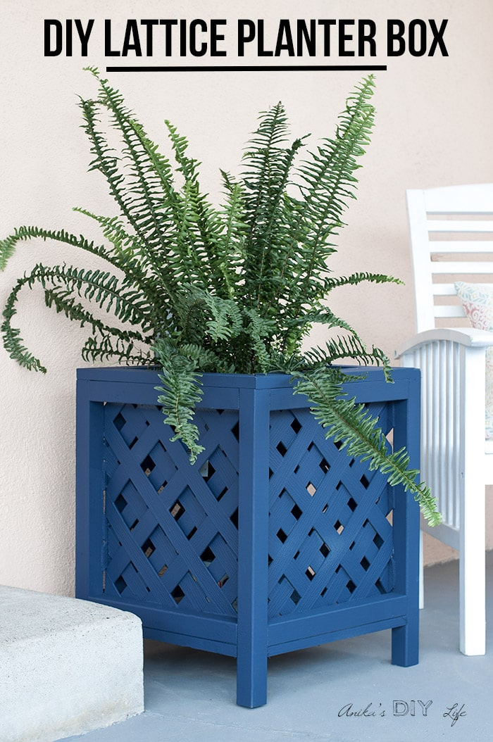DIY lattice planter box on patio with text overlay