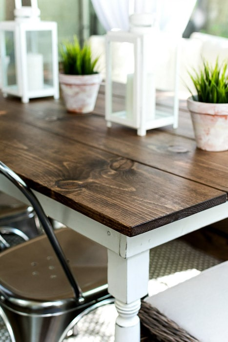 Close up of a simple DIY Farmhouse table