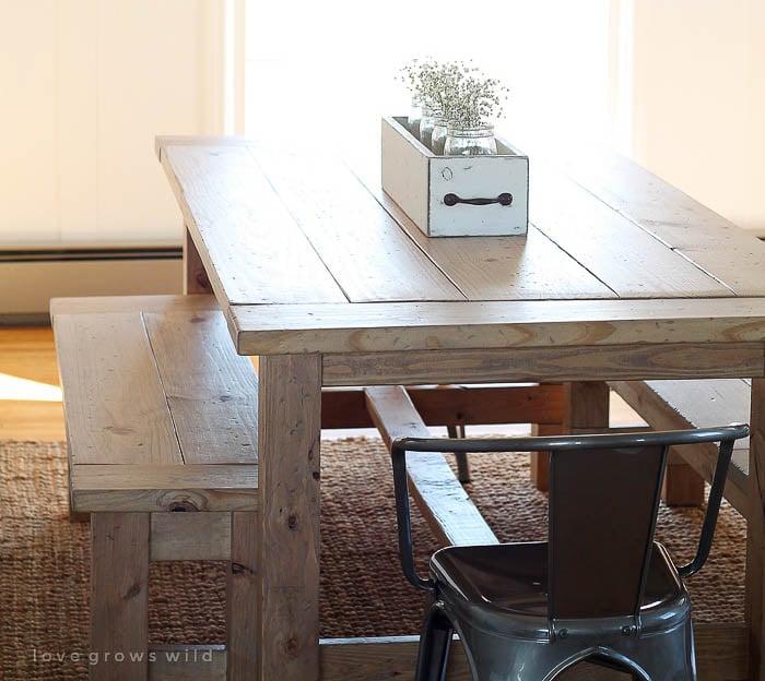 DIY farmhouse table with bench