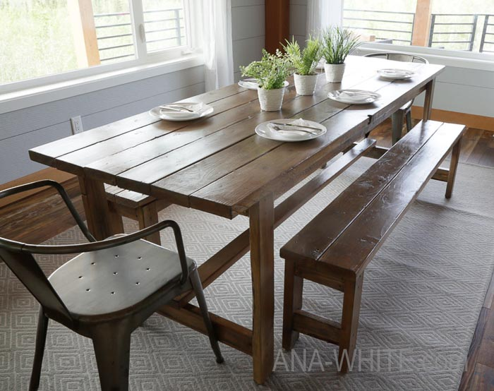 Simple diy farmhouse dining table
