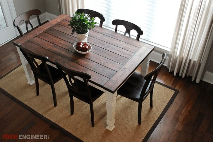 Simple Farmhouse dining table in dining room