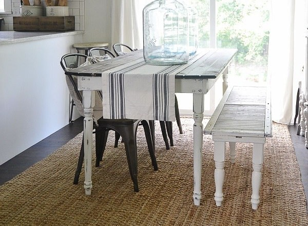 White Farmhouse table with stained top